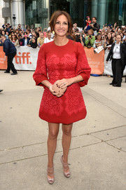 Julia Roberts went for timeless elegance with this red lace-embellished cocktail dress at the premiere of 'August: Osage County.'