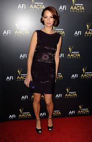Berenice Bejo topped off her beaded dress with black peep-toe pumps complete with ankle straps.