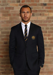 Quade Cooper looked as handsome as ever in a tailored black blazer during the Australian Wallabies Portrait Session.