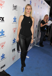 Joelle Carter was edgy in black leather pants and boots at the Autism Speaks' Blue Jean Ball.
