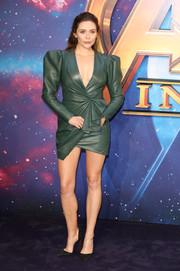 Elizabeth Olsen rocked a bold-shouldered green leather dress by Alexander Vauthier at the 'Avengers: Infinity War' UK fan event.