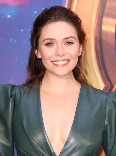 Elizabeth Olsen styled her hair into a romantic half-up 'do for the 'Avengers: Infinity War' UK fan event.