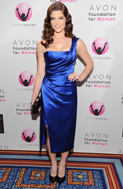 Ashley Greene paired her metallic cobalt blue cocktail dress with black satin platform pumps.