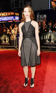 Rebecca Hall looked futuristic-chic in a structured mesh cocktail dress for the London Film Festival.