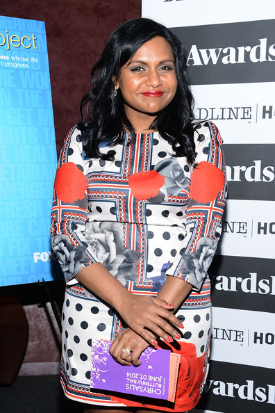 More Pics of Mindy Kaling Long Wavy Cut (1 of 43) - Mindy Kaling Lookbook - StyleBistro [the mindy project,fashion,product,flooring,pattern,carpet,mindy kaling,awardsline,screening,california,los angeles,landmark theatre]