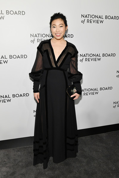 Awkwafina Beaded Clutch [clothing,dress,fashion,carpet,little black dress,fashion design,formal wear,flooring,outerwear,suit,arrivals,awkwafina,new york city,cipriani 42nd street,national board of review annual awards gala,national board of review annual awards gala]
