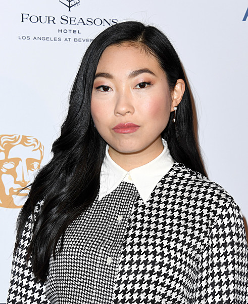 Awkwafina Pearl Drop Earrings [hair,face,hairstyle,eyebrow,beauty,lip,forehead,chin,black hair,fashion,arrivals,awkwafina,los angeles,four seasons hotel,california,beverly hills,bafta,tea party,awkwafina,the farewell,fashion,british academy film awards,celebrity,bafta rising star award,actor,golden globe awards,fashion week]