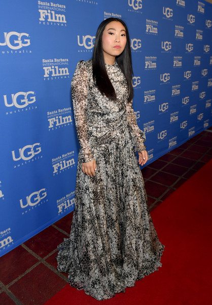 Awkwafina Print Dress [clothing,red carpet,carpet,dress,premiere,flooring,fashion,long hair,formal wear,electric blue,awkwafina,presentation,virtuosos award,santa barbara,california,arlington theatre,santa barbara international film festival - virtuosos award,awkwafina,santa barbara international film,the arlington theatre metropolitan theatres,the farewell,2019 sundance film festival,2019 toronto international film festival,celebrity,film festival,hollywood,festival]