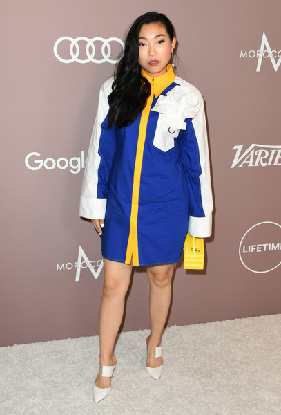 Awkwafina Shirtdress [clothing,yellow,fashion,fashion model,cobalt blue,electric blue,outerwear,fashion design,footwear,fashion show,variety,power of women,lifetime,los angeles,beverly hills,california,beverly wilshire four seasons hotel,arrivals,awkwafina]