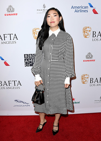 Awkwafina Shirtdress [clothing,carpet,red carpet,premiere,hairstyle,dress,fashion,fashion model,footwear,flooring,arrivals,awkwafina,los angeles,four seasons hotel,california,beverly hills,bafta,tea party,awkwafina,red carpet,golden globe awards,los angeles,celebrity,73rd british academy film awards,party,fashion police,model,fashion]