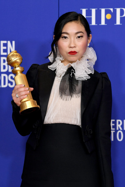 Awkwafina French Manicure [musical,motion picture,formal wear,outerwear,award,suit,singer,premiere,television presenter,carpet,black hair,awkwafina,comedy,best performance by an actress,room,press room,the beverly hilton hotel,beverly hills,golden globe awards,awkwafina,beverly hills,golden globe awards,the farewell,golden globe award for best actress \u2013 motion picture \u2013 musical or comedy,actor,academy awards,critics choice movie award for best actress,history]