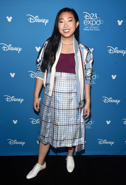 Awkwafina Bomber Jacket [the last dragon,clothing,fashion,premiere,fashion design,long hair,carpet,dress,photography,electric blue,style,raya,awkwafina,disney studios showcase presentation at d23 expo,part,anaheim,disney\u00e2,walt disney studios,presentation,d23 expo]