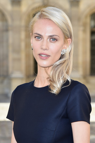 Aymeline Valade Side Sweep [hair,face,blond,hairstyle,eyebrow,beauty,shoulder,lip,chin,skin,aymeline valade,front row,part,paris,france,christian dior,paris fashion week womenswear spring]