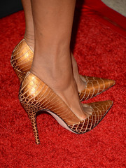 Kerry Washington teetered on an ultra-stylish pair of gold exotic-skin pumps during the BAFTA LA TV Tea.