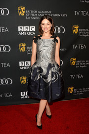 Crystal Reed looked very girly in a swirly-print cocktail dress with bowed shoulder straps during the BAFTA LA TV Tea.