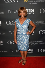 Alfre Woodard donned a chic blue and white print dress for the BAFTA LA TV Tea.