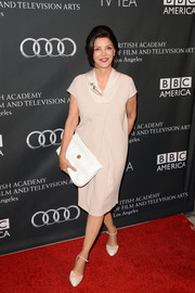 Shohreh Aghdashloo went for simple elegance in a loose nude dress during the BAFTA LA TV Tea.