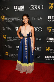 Dilshad Vadsaria was boho-chic at the BAFTA LA TV Tea in a multicolored maxi dress with a keyhole neckline.