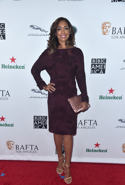 More Pics of Gina Torres Satin Clutch (1 of 3) - Gina Torres Lookbook - StyleBistro [clothing,dress,red carpet,cocktail dress,carpet,little black dress,shoulder,premiere,footwear,fashion,arrivals,gina torres,tea party,los angeles,beverly hills,california,the beverly hilton hotel,bafta,bbc,america tv]