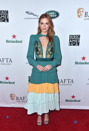 Sarah Drew turned heads in an Elisabetta Franchi dress with a front cutout and a gradient skirt at the BAFTA Los Angeles + BBC America TV Tea Party.