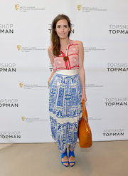 Louise Roe rocked a white and blue maxi skirt at the BAFTA event in LA.