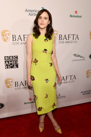 Rachel Brosnahan chose a chartreuse-yellow Christian Siriano sheath dress with clustered beading for the BAFTA Los Angeles Tea Party.