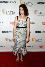 Claire Foy looked adorably chic in an ice-blue floral cocktail dress by Erdem at the BAFTA Los Angeles TV tea party.