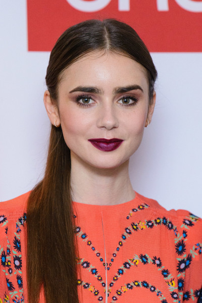More Pics of Lily Collins Print Dress (1 of 18) - Dresses & Skirts Lookbook - StyleBistro [les miserables,hair,lip,hairstyle,beauty,eyebrow,orange,chin,long hair,eyelash,brown hair,lily collins,photocall,photocall,england,london,bbc one,bafta]