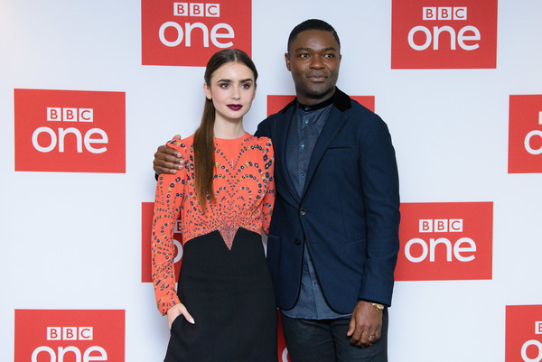More Pics of Lily Collins Print Dress (7 of 18) - Dresses & Skirts Lookbook - StyleBistro [les miserables,clothing,red,event,premiere,carpet,fashion design,brand,sleeve,flooring,formal wear,lily collins,david oyelowo,photocall,photocall,england,london,bbc one,bafta]
