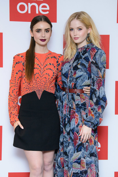 More Pics of Lily Collins Print Dress (4 of 18) - Dresses & Skirts Lookbook - StyleBistro [les miserables,clothing,fashion,red,dress,fashion model,beauty,orange,premiere,hairstyle,fashion design,lily collins,ellie bamber,photocall,photocall,england,london,bbc one,bafta]