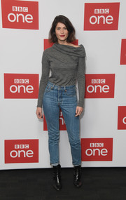 Black ankle boots rounded out Gemma Arterton's ensemble.