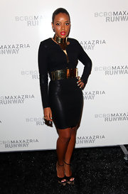 Angela Simmons accessorized her daring look with black peep-toe pumps complete with metallic platforms.