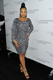 Ashanti was fierce in leopard print with hot pink nails and lips at the BCBG runway show in New York.