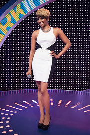 Miss Mykie chose a black and white shift dress for her look on '106 and Park.'