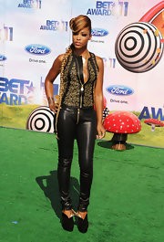 Eve went all out with the leather at the 2011 BET Awards, wearing this studded tank and skinnies combo.