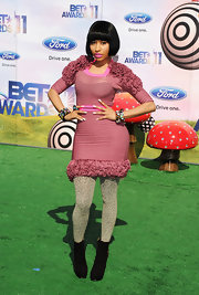 Nicki Minaj paired her ultra-textured mauve BET Awards dress with patterned tights and black ankle boots.
