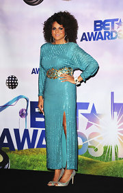 Marsha Ambrosius oozed sophistication in a beaded aqua dress at the 2011 BET Awards.