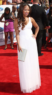 Meagan's white cutout gown made for an angelic red carpet look.