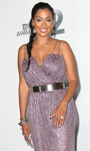 La La Anthony accessorized her jumpsuit with a silver belt when she attended the 2012 BET Awards.