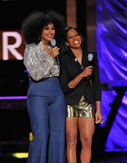Regina King paired a black blazer, complete with a giant safety pin on the lapel, with a pair of gold shorts for a clever finish at the 2012 Black Girls Rock event.