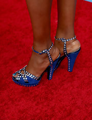 Yolanda Adams opted for blue from head to toe with these blue evening sandals with rhinestone embellishments.