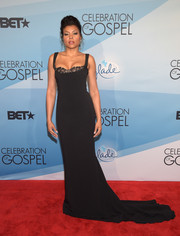 Taraji P. Henson donned a figure-hugging black gown with a sweeping train at the BET Celebration of Gospel.