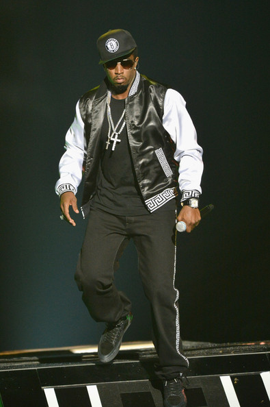 Sean Combs performed at the 2012 BET Hip Hop Awards wearing a black-and-white track jacket.