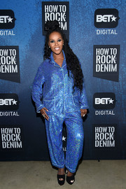 June Ambrose was pajama-glam in a blue sequin suit by Ashish at the BET How to Rock: Denim event.