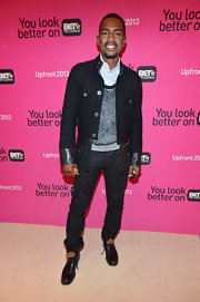 Bill Bellamy's denim jacket with funky leather trim was a cool and edgy choice for the actor.