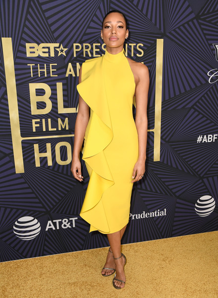More Pics of Kylie Bunbury Cocktail Dress (5 of 10) - Dresses & Skirts Lookbook - StyleBistro [clothing,dress,yellow,shoulder,fashion model,cocktail dress,fashion,carpet,red carpet,premiere,bet presents the american black film festival honors - arrivals,beverly hills,california,kylie bunbury]
