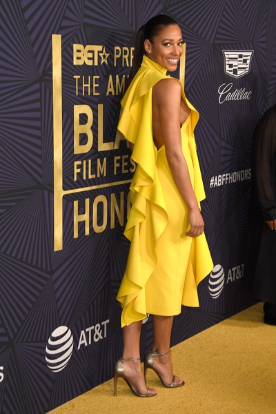 More Pics of Kylie Bunbury Cocktail Dress (8 of 10) - Dresses & Skirts Lookbook - StyleBistro [yellow,clothing,dress,fashion,carpet,premiere,fashion model,red carpet,shoulder,footwear,bet presents the american black film festival honors - arrivals,beverly hills,california,kylie bunbury]