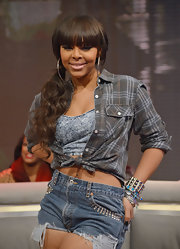 Paigion sported these casual denim shorts with studded pockets for her look while out at BET's show '106 & Park.'