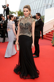 Carly Steel looked fiercely glam in a Mac Duggal gown with a beaded bodice during the Cannes premiere of 'The BFG.'