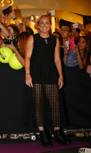 Bethanie Mattek-Sands showed some leg in a sheer-bottom LBD during the BNP Paribas WTA Finals official draw ceremony.
